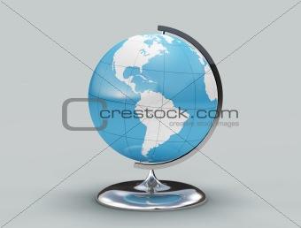 Blue and white globe