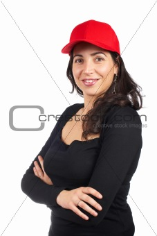 Casual woman with a red cap