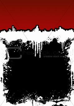 Cityscape ink splatter frame background