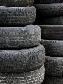 Old useless tires stacked up