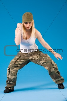 Blond sexy girl with dance moves