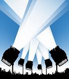 Spotlights in the urban sky