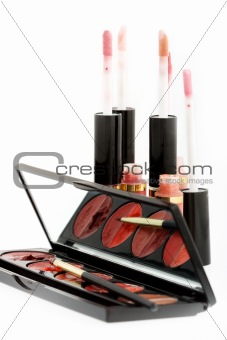Group of lip glosses and lipsticks