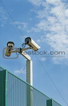 camcorder on sky background