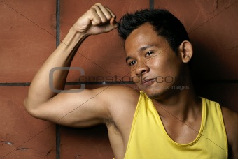 Fit young asian man portrait
