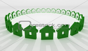 3d image of circle of house background