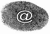 email symbol on finger print image