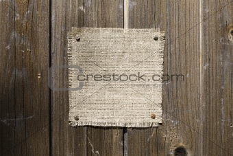 Canvas On Dark Wooden Texture