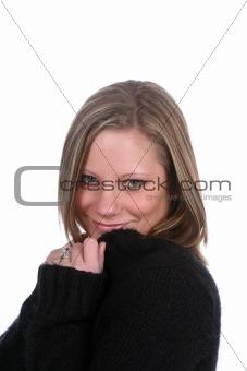 flirting woman in black