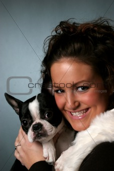 Teen and her Boston Terrier