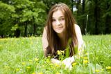 The Girl Lays On A Meadow