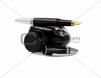 fountain pen and black ink
