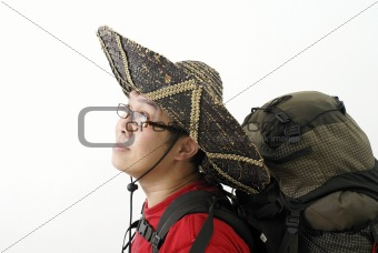 Asian traveller with mexican hat