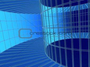 3d blue abstract tunnel from a grid