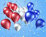 Red, white and blue balloons on a starry background