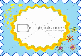 frame of the blue colour with flower and star