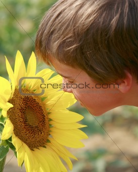 Little Boy and a Big Flower