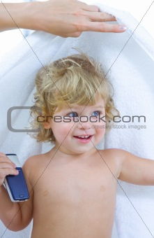 baby and towel