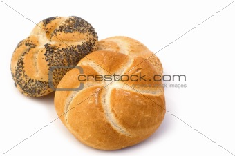 three small bread on white background
