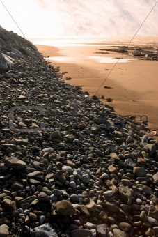 black rock pebbles