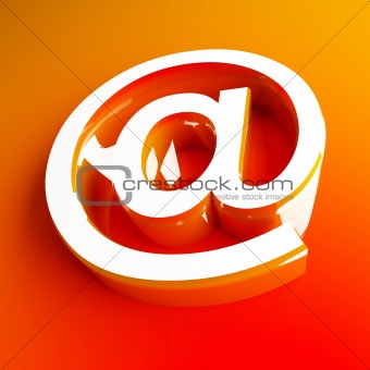 3d image of orange email symbol
