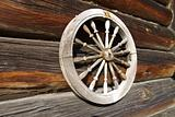 Wheel on a timbered wall