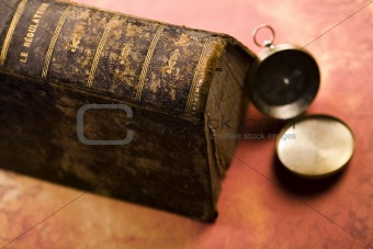 Old book & Compass