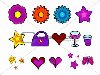 Retro Vector Flowers & Icons