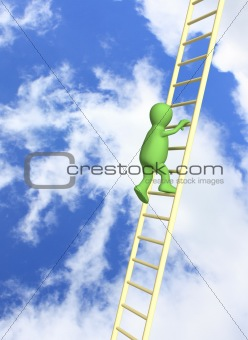 3d  puppet, rising upwards on a ladder