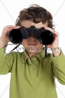 adorable boy with binoculars