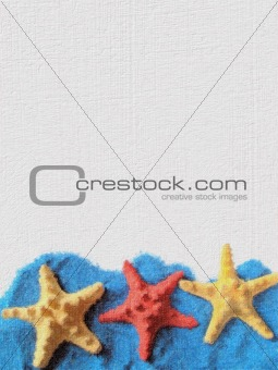 Card with three starfishes.