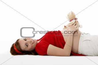 Pregnant with a Teddy bear