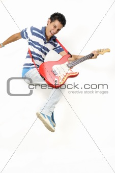 Jumping with electric guitar