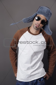 Young man in winter hat