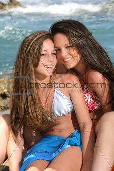 beautiful teenage girls on the beach