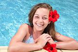 beautiful teenage girl in swimming pool