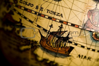 Ship and old map