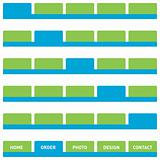 Web buttons or tabs in green and blue