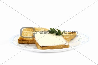 toast with butter on plate