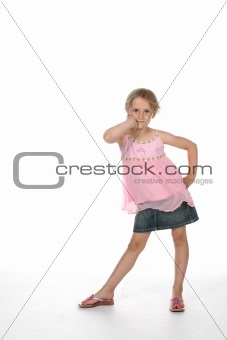 cute girl standing with hip pushed ou