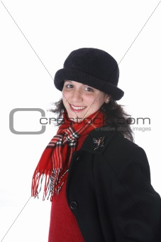Attractive young woman in red scarf