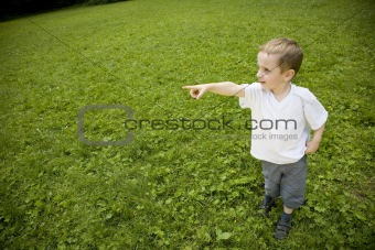 Boy Pointing At The Sky