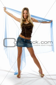Beautiful woman and silk over the white background