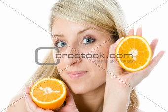 Beautiful girl with two slice juicy oranges