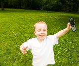 Running Boy With Phone