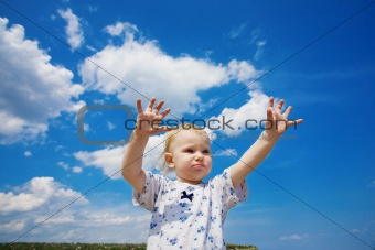 portrait with blue cloudy sky