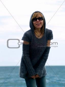 Blond Model in Hood Posing beach