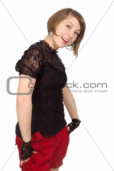 attractive smiling girl stay in the invinting pose