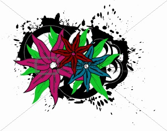 Grungy Vector Flowers Illustration