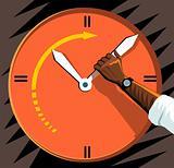 Clock and human hand